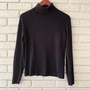 Lands' End Cable Knit Sweater Black Size Small